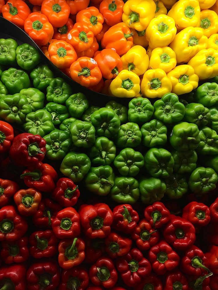 colorful orange, red, yellow, green peppers