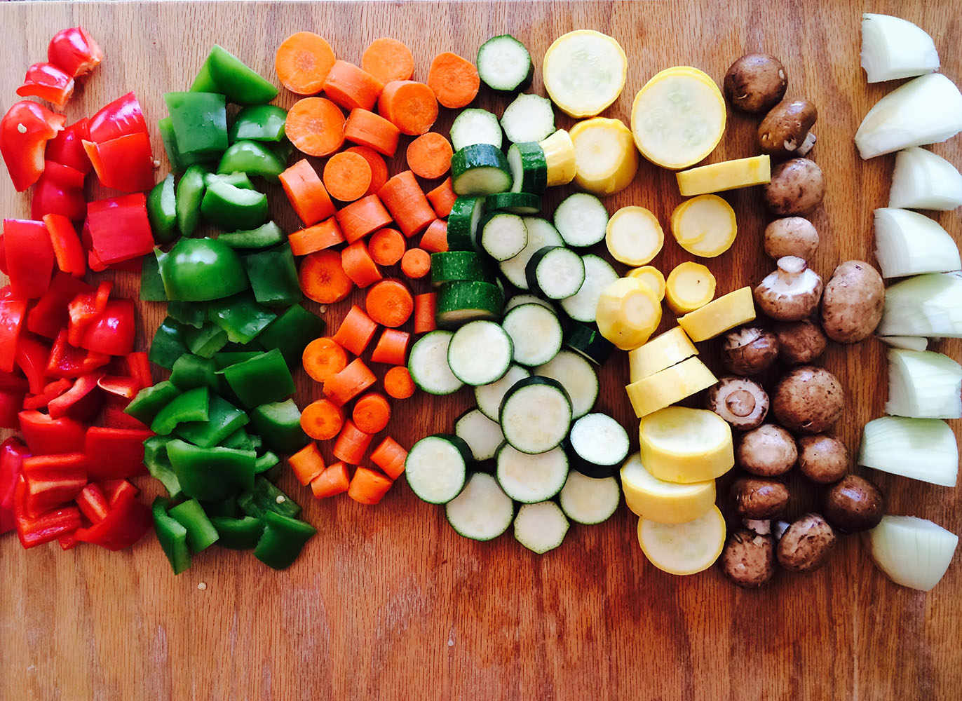 chopped peppers, carrots, mushrooms, union, cucumber vegetables