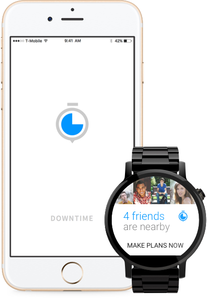 Downtime mockup on iPhone 6S and Moto 360