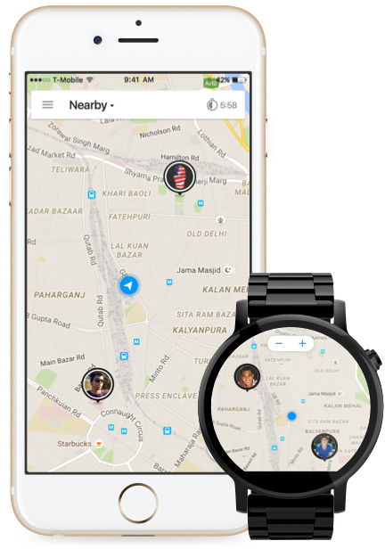 Downtime nearby map on iPhone 6s and Android Wear