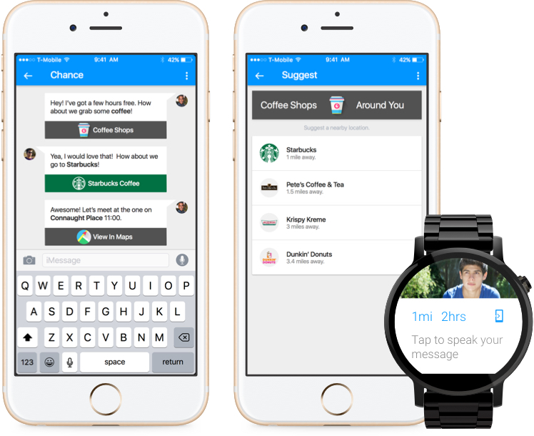 Downtime Smart Chat for iPhone 6s and Android Wear in Material Design