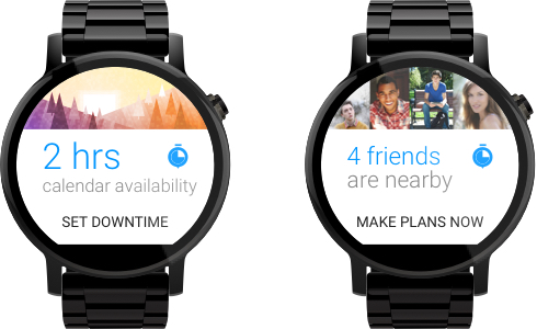Downtime context aware notifications for Android Wear in Material Design on Moto 360