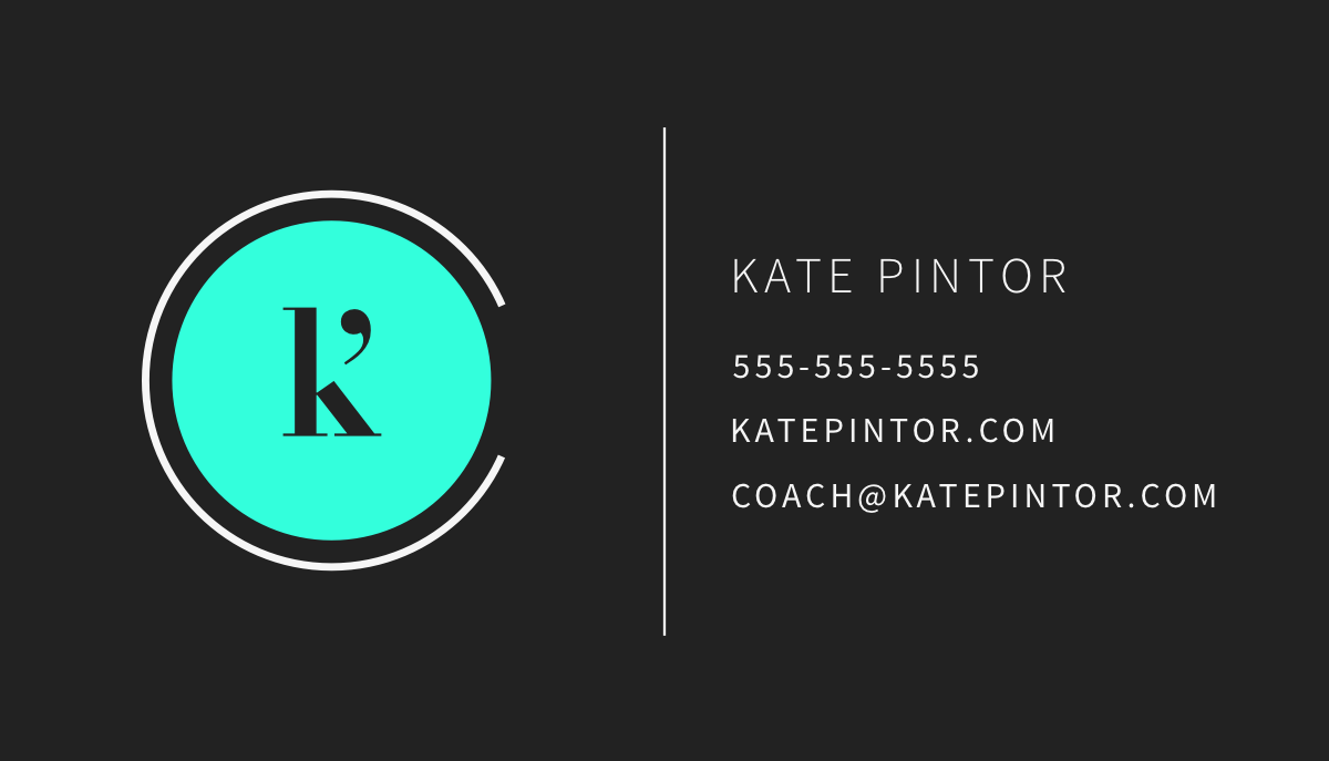Kate Pintor Entrepreneurial Coach business card