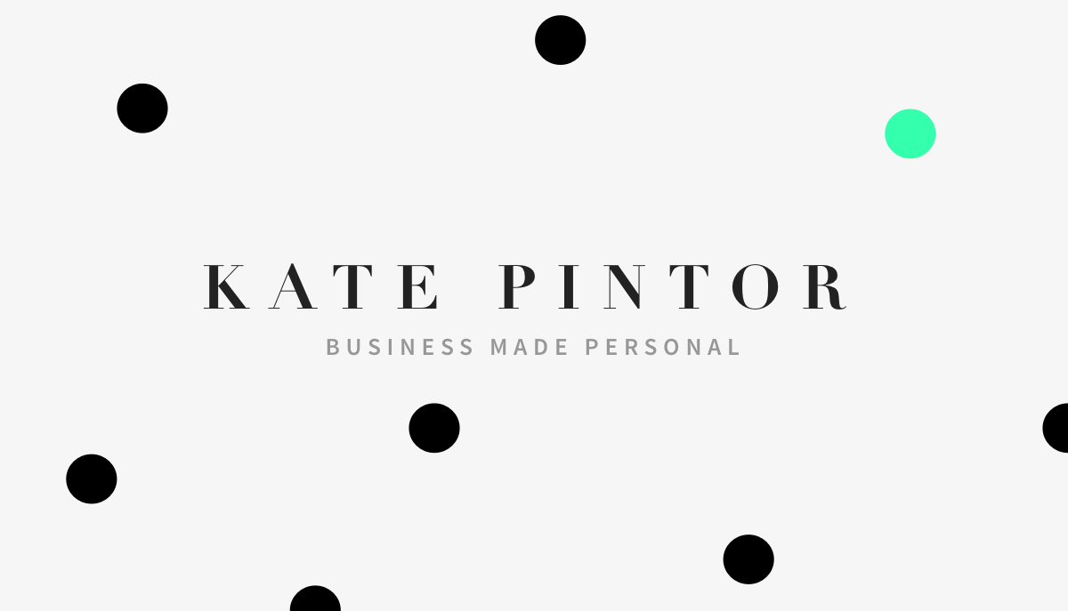 Kate Pintor Entrepreneurial Coach business card early iteration with dots